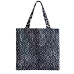 HEXAGON1 BLACK MARBLE & ICE CRYSTALS Zipper Grocery Tote Bag