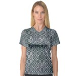 HEXAGON1 BLACK MARBLE & ICE CRYSTALS V-Neck Sport Mesh Tee