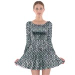 HEXAGON1 BLACK MARBLE & ICE CRYSTALS Long Sleeve Skater Dress