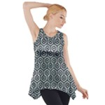 HEXAGON1 BLACK MARBLE & ICE CRYSTALS Side Drop Tank Tunic