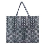 HEXAGON1 BLACK MARBLE & ICE CRYSTALS Zipper Large Tote Bag