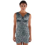 HEXAGON1 BLACK MARBLE & ICE CRYSTALS Wrap Front Bodycon Dress