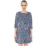 HEXAGON1 BLACK MARBLE & ICE CRYSTALS Smock Dress