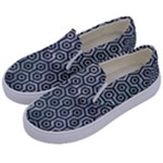 HEXAGON1 BLACK MARBLE & ICE CRYSTALS Kids  Canvas Slip Ons