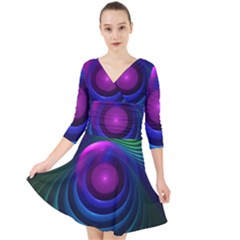 Beautiful Rainbow Marble Fractals In Hyperspace Quarter Sleeve Front Wrap Dress by jayaprime