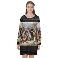 The First Thanksgiving Long Sleeve Chiffon Shift Dress  by Valentinaart