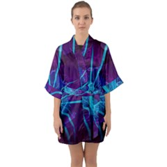 Beautiful Bioluminescent Sea Anemone Fractalflower Quarter Sleeve Kimono Robe