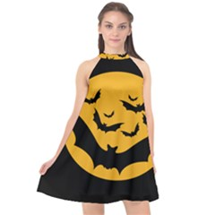Bats Moon Night Halloween Black Halter Neckline Chiffon Dress