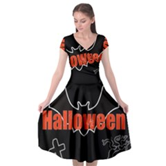 Halloween Bat Black Night Sinister Ghost Cap Sleeve Wrap Front Dress