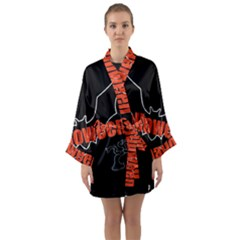 Halloween Bat Black Night Sinister Ghost Long Sleeve Kimono Robe by Alisyart
