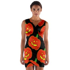 Halloween Party Pumpkins Face Smile Ghost Orange Black Wrap Front Bodycon Dress by Alisyart