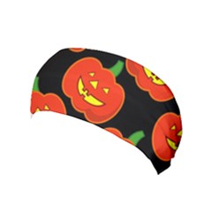 Halloween Party Pumpkins Face Smile Ghost Orange Black Yoga Headband by Alisyart
