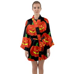Halloween Party Pumpkins Face Smile Ghost Orange Black Long Sleeve Kimono Robe by Alisyart