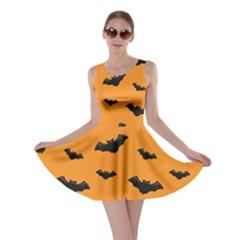 Halloween Bat Animals Night Orange Skater Dress