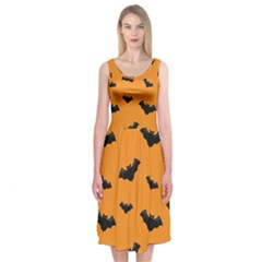 Halloween Bat Animals Night Orange Midi Sleeveless Dress