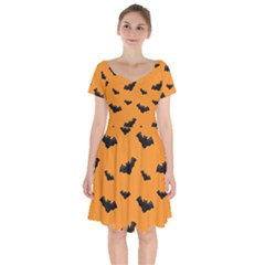 Halloween Bat Animals Night Orange Short Sleeve Bardot Dress by Alisyart