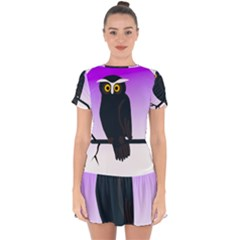 Halloween Owl Bird Animals Night Drop Hem Mini Chiffon Dress