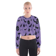 Halloween Pumpkin Bat Spider Purple Black Ghost Smile Cropped Sweatshirt by Alisyart