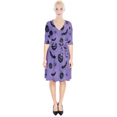 Halloween Pumpkin Bat Spider Purple Black Ghost Smile Wrap Up Cocktail Dress