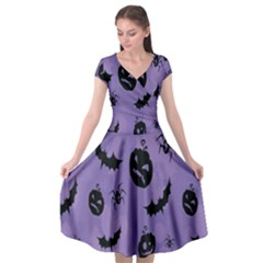 Halloween Pumpkin Bat Spider Purple Black Ghost Smile Cap Sleeve Wrap Front Dress by Alisyart