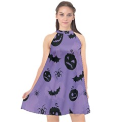 Halloween Pumpkin Bat Spider Purple Black Ghost Smile Halter Neckline Chiffon Dress