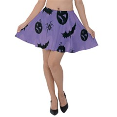 Halloween Pumpkin Bat Spider Purple Black Ghost Smile Velvet Skater Skirt by Alisyart