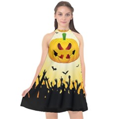 Halloween Pumpkin Bat Party Night Ghost Halter Neckline Chiffon Dress