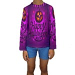 Happy Ghost Halloween Kids  Long Sleeve Swimwear