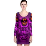 Happy Ghost Halloween Long Sleeve Bodycon Dress