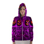 Happy Ghost Halloween Hooded Wind Breaker (Women)