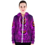 Happy Ghost Halloween Women s Zipper Hoodie