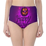 Happy Ghost Halloween High-Waist Bikini Bottoms