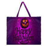 Happy Ghost Halloween Zipper Large Tote Bag