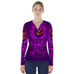 Happy Ghost Halloween V-Neck Long Sleeve Top