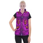 Happy Ghost Halloween Women s Button Up Puffer Vest