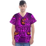 Happy Ghost Halloween Men s V-Neck Scrub Top