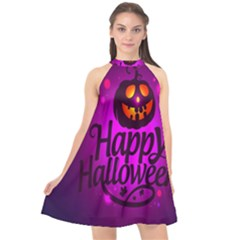 Happy Ghost Halloween Halter Neckline Chiffon Dress