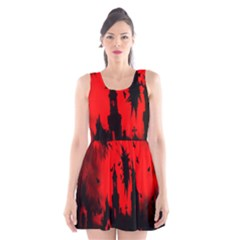Big Eye Fire Black Red Night Crow Bird Ghost Halloween Scoop Neck Skater Dress by Alisyart
