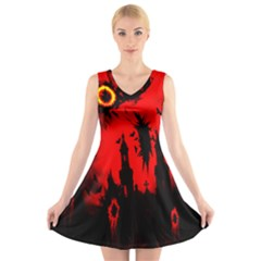 Big Eye Fire Black Red Night Crow Bird Ghost Halloween V Neck Sleeveless Skater Dress by Alisyart