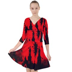 Big Eye Fire Black Red Night Crow Bird Ghost Halloween Quarter Sleeve Front Wrap Dress	 by Alisyart