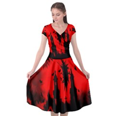 Big Eye Fire Black Red Night Crow Bird Ghost Halloween Cap Sleeve Wrap Front Dress