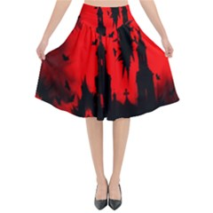 Big Eye Fire Black Red Night Crow Bird Ghost Halloween Flared Midi Skirt by Alisyart