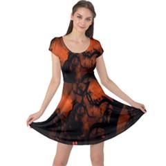 Halloween Pumpkins Tree Night Black Eye Jungle Moon Cap Sleeve Dress