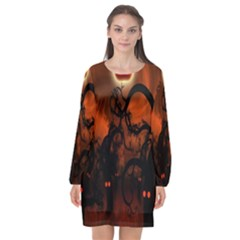 Halloween Pumpkins Tree Night Black Eye Jungle Moon Long Sleeve Chiffon Shift Dress