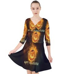 Happy Halloween Pumpkins Face Smile Face Ghost Night Quarter Sleeve Front Wrap Dress