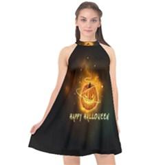 Happy Halloween Pumpkins Face Smile Face Ghost Night Halter Neckline Chiffon Dress  by Alisyart