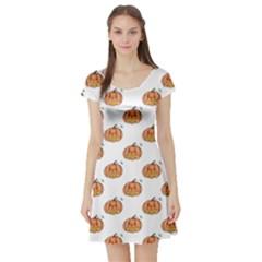 Face Mask Ghost Halloween Pumpkin Pattern Short Sleeve Skater Dress