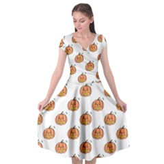 Face Mask Ghost Halloween Pumpkin Pattern Cap Sleeve Wrap Front Dress