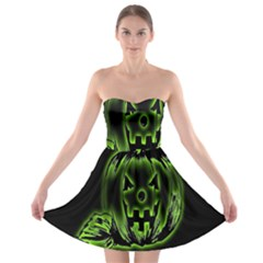 Pumpkin Black Halloween Neon Green Face Mask Smile Strapless Bra Top Dress