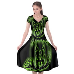 Pumpkin Black Halloween Neon Green Face Mask Smile Cap Sleeve Wrap Front Dress